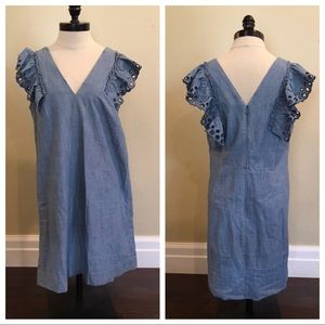 NWOT J Crew Chambray Ruffle Shoulder Sheath Dress
